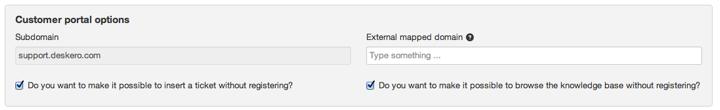 Customers portal options