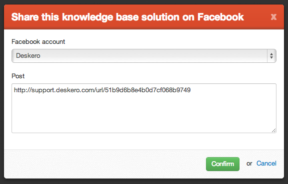 Knowledge base share on Facebook