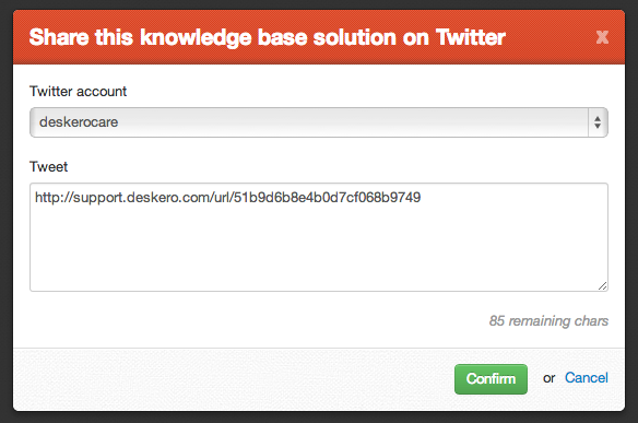 Knowledge base share on Twitter