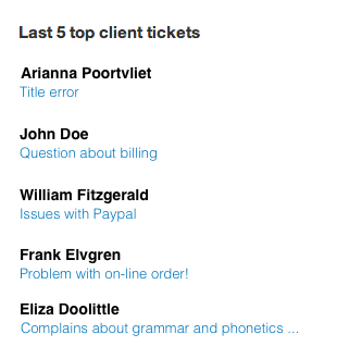 Last 5 top client tickets