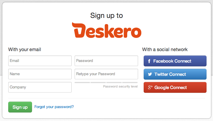 User signup form